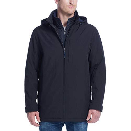 Weatherproof Men's Ultra Tech Men's Jacket Fleece Bib Removable Hood (M, Black/Blue)