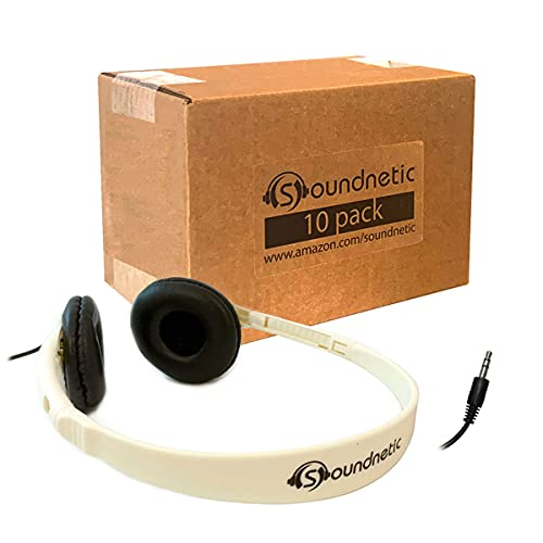 Soundnetic Budget Headphones 10 Pack Stereo Headphones with Leatherette Pads