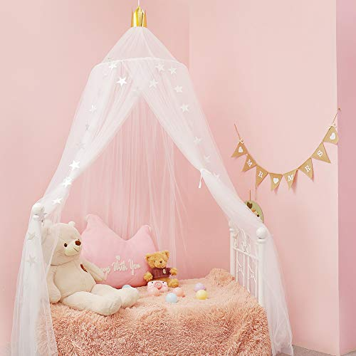 A/N Dosel para habitación de niñas, perfecto para decoración de habitaciones infantiles, mosquitera, tienda de campaña para niños, princesa, dormitorio o habitación de bebé (color blanco)