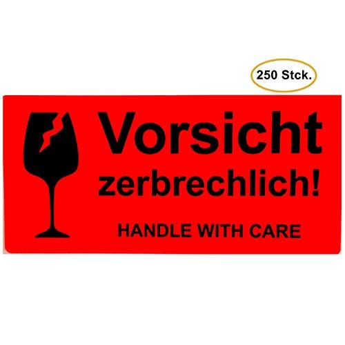 BT-Label 250 Warnetiketten Aufkleber 10,2 x 4,8 cm neon leuchtrot Umzugs-Etiketten Vorsicht zerbrechlich Glas Bruchgefahr Paketaufkleber handle with care