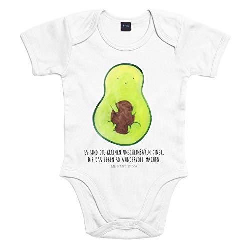 Mr. & Mrs. Panda Bodysuit, Strampler, 3-6 Monate Baby Body Avocado mit Kern mit Spruch - Farbe Transparent