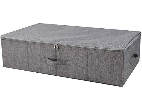 iwill CREATE PRO Dreiseitiger Reißverschluss-Abdeckung-Korb, zusammenklappbarer Unterbett-Aufbewahrungsbehälter für Decken, Deckbetten, Deckbetten usw. Dunkelgrau