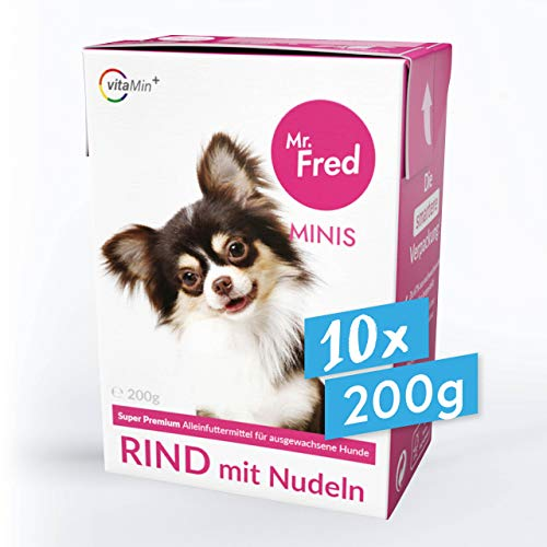 Mr. Fred- Hundefutter nass | Super Premium Nassfutter für Hunde | 10 x 200g | Lebensmittelqualität | Rind mit Nudeln | wiederverschließbar