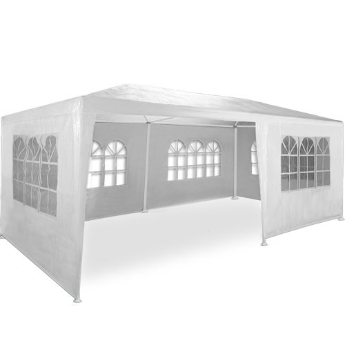 Kingsleeve Festzelt Rimini 3x6m Weiß UV-Schutz 18qm 6 Seitenteile Fenster Wasserabweisend Pavillon Partyzelt Gartenzelt Festival
