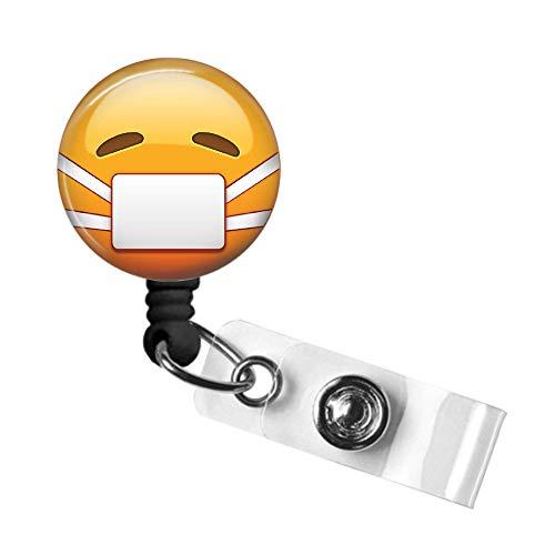 Emoji Badge Reel, Retractable ID Badge Reel, Nurse Badge Pull, Swivel Alligator Clip, 34in. Nylon Cord, Medical MD RN Nurse Badge ID, Badge Holder, Office Employee Name Tag (Mask Emoji)