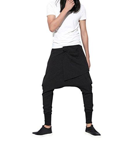 Baymate Femme Mode Hippie Pantalons Lâche Extensible Casual Sarouel Pantalon Noir