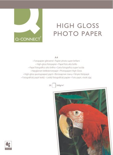 Q-Connect KF02163 Inkjet-Photopapiere, A4, 260 g/qm, 20 Blatt weiß