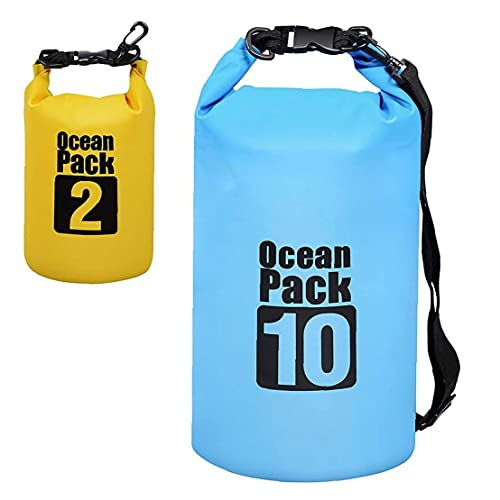 Naisicatar Bolso Seco Impermeable Natación Mochila 10l 2l con Correa Ajustable para Kayaking Boating Drifting Surfing 2pcs