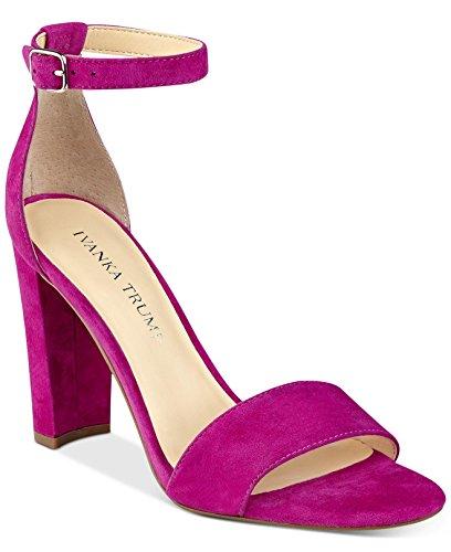 Ivanka Trump Emalyn Block-Heel Shoes Ankle Strap Suede Pink Sandals