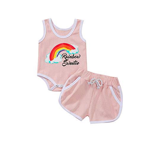 Kobay Komfortabel Neugeborenes Baby Mädchen Sommer Brief Regenbogen Weste Strampler + Shorts Outfits Set