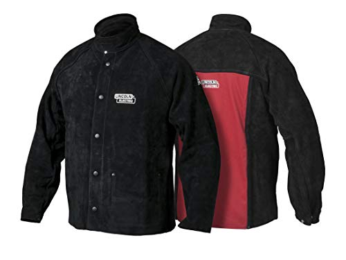 Lincoln Electric Heavy Duty Leather Welding Jacket | Ideal for High Amperage or Out of Position Welding | Medium | K2989-M,Black/Red