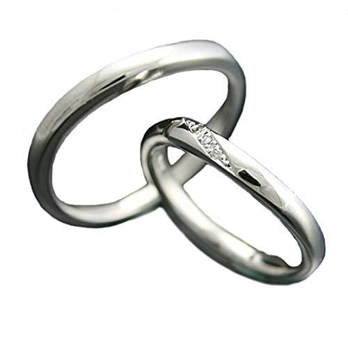 [ココカル]cococaru ペアリング 2本セット K18 ホワイトゴールド 結婚指輪 ダイヤモンド 日本製(レディースサイズ2号 メンズサイズ7号)