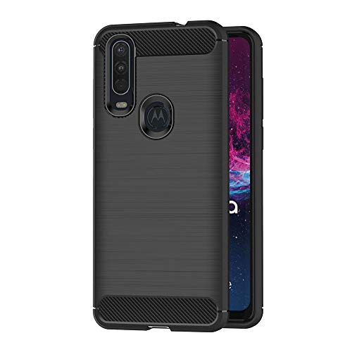 AICEK Hülle Compatible Moto One Action, Schwarz Silikon Handyhülle für Motorola Moto One Action Schutzhülle Karbon Optik Soft Hülle (6,3 Zoll)