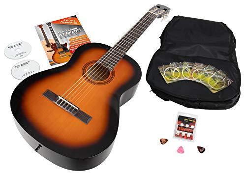 Calida Benita 4/4 Konzertgitarre Set inkl. Zubehör - Gitarre inkl. Gitarrentasche mit Schultergurt & Notenfach - Gitarrenschule mit CD & DVD, Stimmpfeife, Plektren, Ersatzsaiten - Sunburst