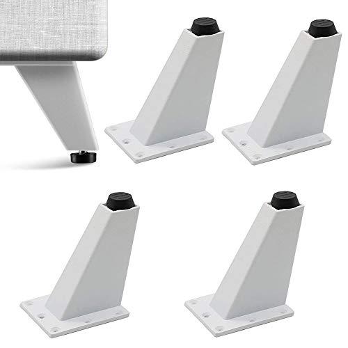 4 Piezas Pies de Armario de Aluminio, Pies de Cocina Triangulares, Ajustable Aleación de Aluminio 8CM Patas Cónicas Oblicuas para Muebles de TV, Mesas de Centro, Asientos, Armarios (Blanco)