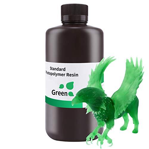 ELEGOO 3D Printer Rapid Resin, 405nm LCD UV-Curing Resin Standard Photopolymer Resin for LCD 3D Printing Clear Green 1000G