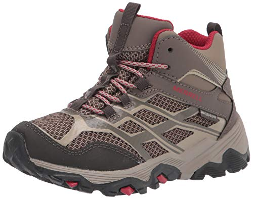 Merrell Moab FST Mid Waterproof Hiking Boot, Boulder, 4 Wide US Unisex Big_Kid