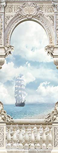Vinilos para PuertasVelero Blanco Papel Pintado Póster Autoadhesiva Extraíble Impermeable Decorativas de pegatinas puertas para Cuarto y Baño 86x200cm