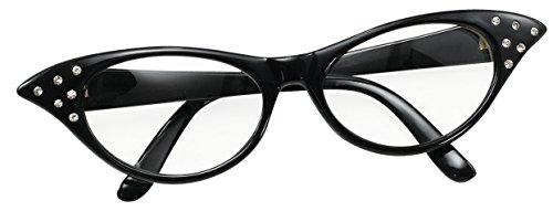Bristol Novelty BA142B Brille im Stil der 50er, Schwarz, Damen, Einheitsgröße