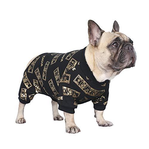 iChoue Rich Dog Series Pet Clothes Pajama Jumpsuit PJS Shirt French Bulldog Pug Boston Terrier T-Shirt - Black Money M