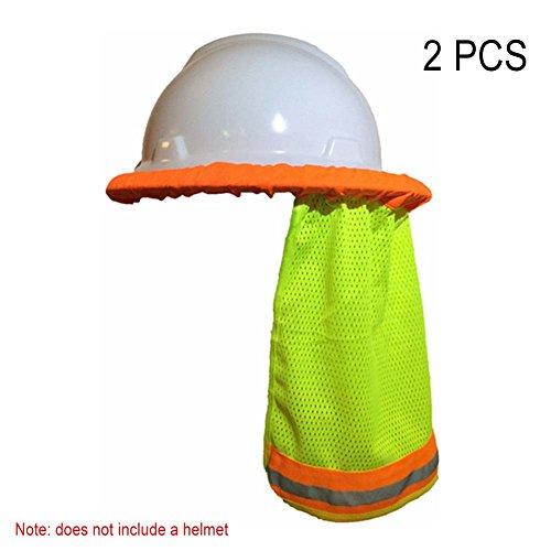 Avalita 2 Stks Zonwering Zonwering Full-Brim Mesh Neck Shield Reflecterende Streep Zonnescherm voor Veiligheid Harde Hoed ORANJE