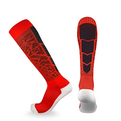 Elite Performance Athletic Socks - Over The Calf (Small, Red / Black)