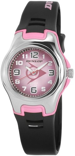 Dunlop DTREAS3 - Reloj analógico de mujer de cuarzo con correa de goma negra - sumergible a 50 metros