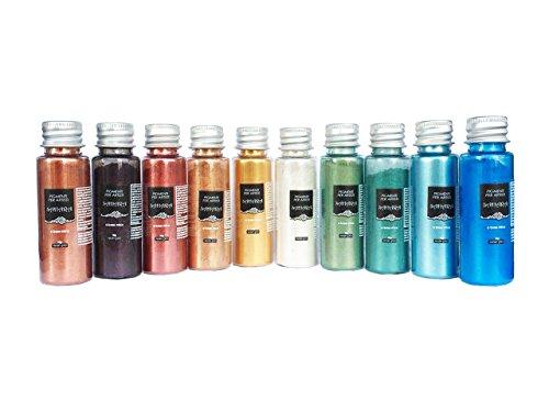 Resin Pro - 10 x 10 GR SAHARA Pearline Pigments - Kits de Pigments Métalliques Mélangés, Compatibles avec l'Èpoxy, le Polyuréthane, l'Acrylique, les Vernis, les Créations Artistiques - Multicolore