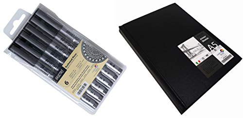 Brustro Technical Pen (Pack of 6) & BRUSTRO Stitched Bound Artists Sketch Book, A5 Size, 156 Pages, 110GSM
