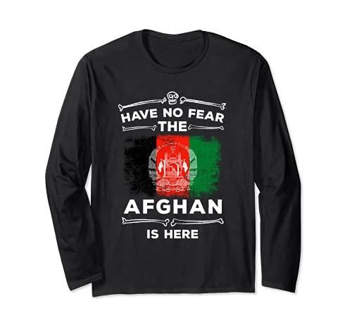 Have No Fear The Afghan Is Here Bandera de Halloween Afganistn Manga Larga