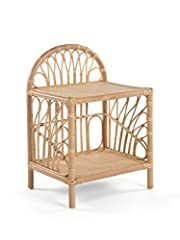 20 inches wide x 16 inches deep x 29 inches high Bottom shelf 4 inches of the floor. Top shelf 20 inches off the floor Hand crafted from naturally grown rattan Clean with damp cloth
