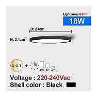 zhixiang LEDの天井の光の調光可能な12W 18W 24W 32W 220V 3色の調節可能なフィット感の寝室の浴室モダンな天井灯 (Body Color : 18W Black shell, Emitting Color : Changeable)