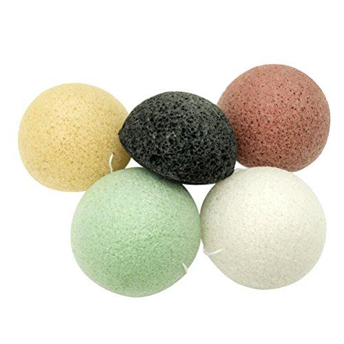 Beaupretty 5pcs Konjac Esponja Facial Esponjas limpiadoras naturales Ideal para pieles sensibles sensibles al acné graso (Negro + Verde + Amarillo + Crema + Rojo)