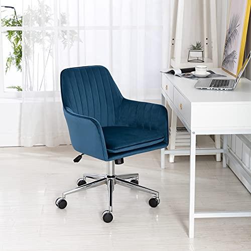 Irene house Silla giratoria de Oficina Regulable en Altura Silla de Escritorio ergonómica Silla de Dormitorio de Tela Terciopelo Estilo Moderno (Azul)