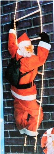 Urban Design Weihnachtsmann auf Leiter mit Lichterschlauch zur Außendekoration, Rot Weiß, 200 cm