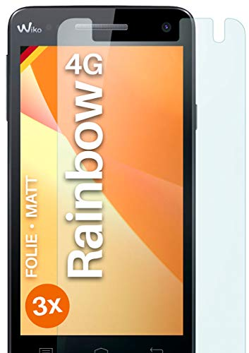 moex Schutzfolie matt kompatibel mit Wiko Rainbow 4G - Folie gegen Reflexionen, Anti Reflex Bildschirmschutz, Matte Bildschirmfolie - 3X Stück