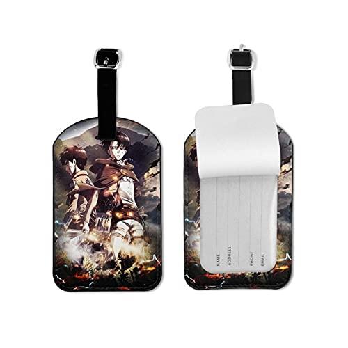 Etiquetas de equipaje de piel con funda de privacidad, para viaje, con diseño de anime Attack on Titan Levi Ackerman (6)