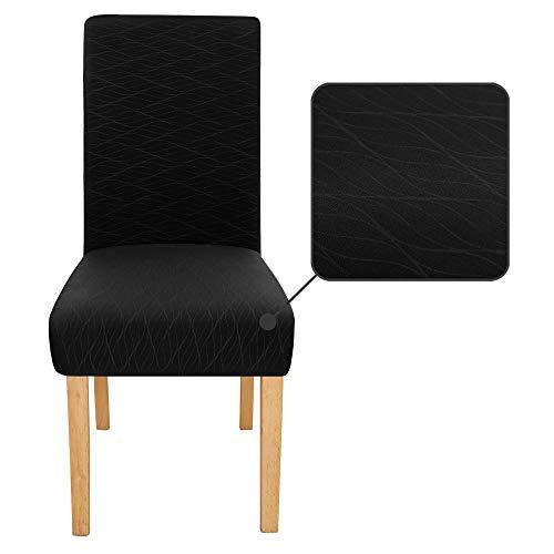 Amazon Brand – Umi Fundas de Silla Decorativas Suave de Salon Comedor 4 Piezas Negro