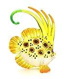 Hand Blown Glass Figurine Beautiful Yellow Angel Fish Handmade Miniature Animal Art