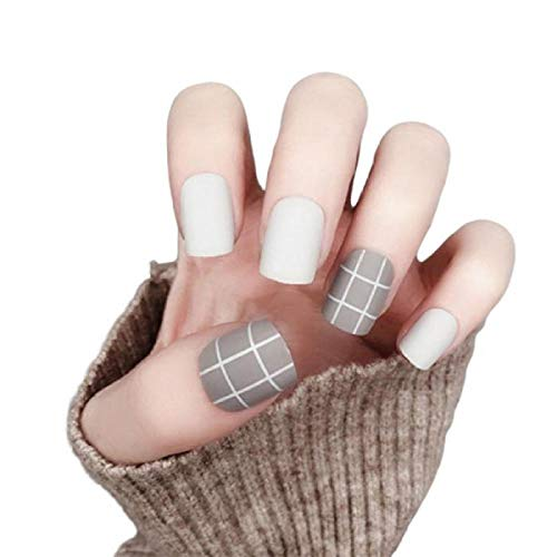 TJJL Faux ongles 24 Pcs Ins Gris Blanc Court Mat Faux Ongles Portable Full Cover Press On Nail Acrylic Nail Products Avec 2G Colle For Girls Diy