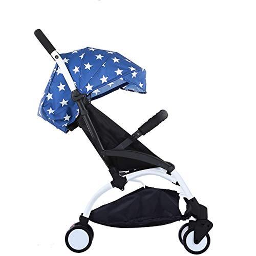 Carritos y sillas de Paseo Cochecito de bebé Plegable Ultraligero Puede Sentarse reclinable Cochecito Bebé Niño Niño Simple Paraguas de Bolsillo Bebé Sillas de Paseo (Color : Blue)