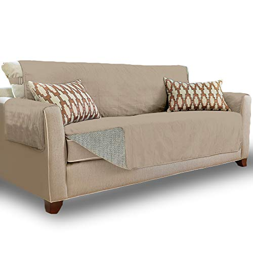 Gorilla Grip Original Slip Resistant Large Sofa Protector for Seat Width up to 70 Inch, Patent Pending Suede-Like Furniture Slipcover, 2 Inch Straps, Couch Slip Cover Throw for Dogs, Pets, Sofa, Taupe