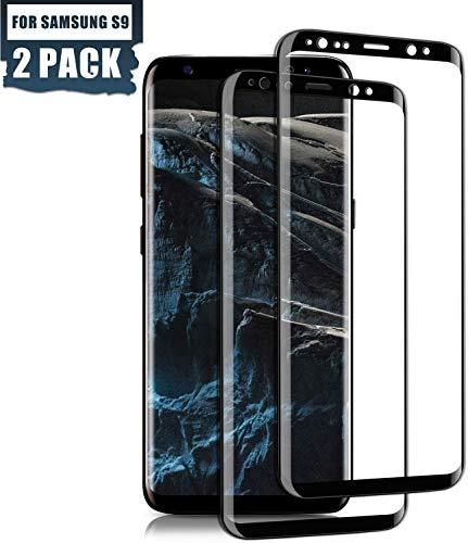 SGIN Galaxy S9 Panzerglas Schutzfolie, [2 Stück] für Galaxy S9 Panzerglasfolie Ultra-klar, Kratzer und Anti-Bläschen, Bruchsicher, 9H Anti-Kratzen Härtegrad Panzerglasfolie - Schwarz