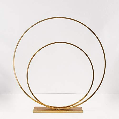 Decor Essentials Store - Fioriera, a forma di cerchio, in metallo, 80 cm, decorativo, per esposizione fiori, colore: oro