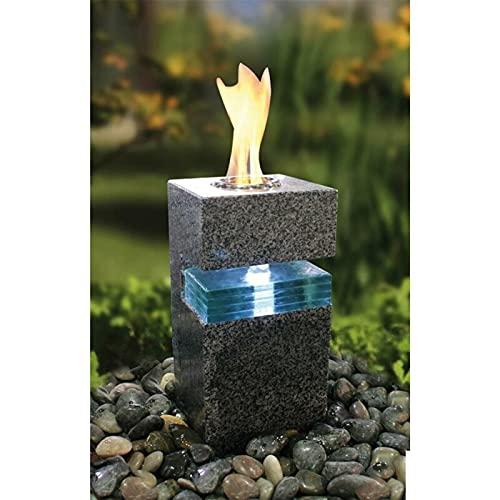 Wasserspiel Komplettset Granit anthrazit teilpoliert | inklusive umfangreiches Zubehör | Wasserbrunnen mit Feuerstelle