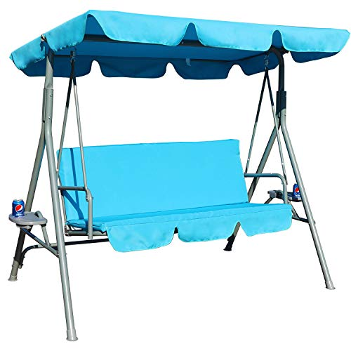 GOLDSUN Durable 3 Person Outdoor Patio Cushioned Swing with Cupholder Weather Resistant Canopy Steel Frame and Removable Cushion (Blue)