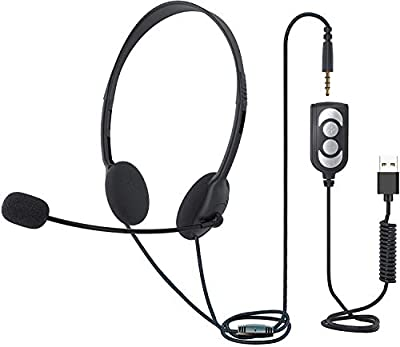 TINGDA USB Headset With Microphone, Lightweight Computer Headset Wired Noise Cancelling Headphones, In-Line Control 3.5mm Jack Call Center Headset for Skype Mac PC Mobile Phone, Online Conference from Mfltd