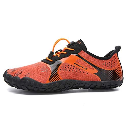 LFLDZ Frauen der Männer Wasser Schuhe, Schnell trocknend Aqua Schuhe Leichte Durable Barefoot Wasserschuhe, für Schwimmbad Segeln Surfen Tauchen Yoga (35-46),Orange,45