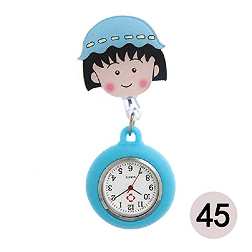 QFYD FDEYL Reloj de Enfermera Broche Fob Pocket Tunic Movimiento de Cuarzo Reloj, Reloj de Bolsillo con Hebilla de acrílico @ Granate