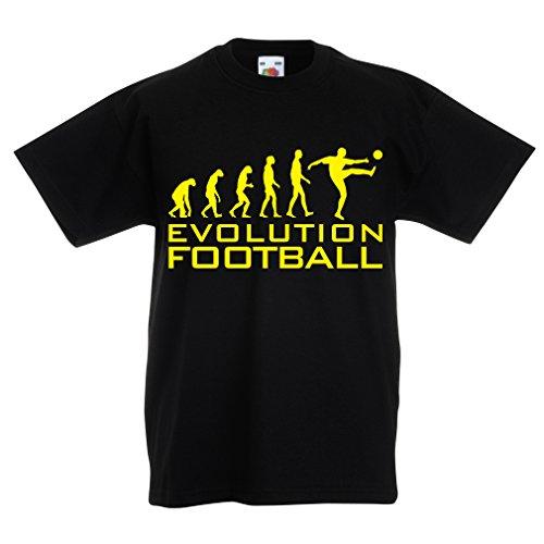 lepni.me Camiseta para Niño/Niña La evolución del fútbol - Camiseta de fanático del Equipo de fútbol de la Copa Mundial (9-11 Years Negro Amarillo)